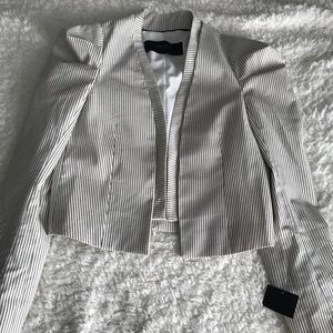 Women's Zara Navy Blue & White striped Blazer